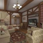 Дизайн штор для гостиной в стиле кантри